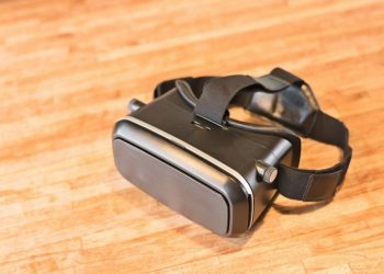 vr goggles resting on table